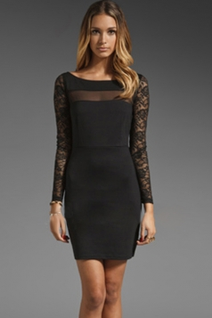 Black Long Sleeves Lace Sexy Ladies Patchwork Bodycon Dress