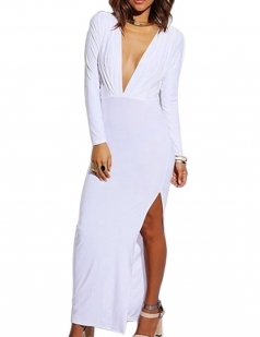 Sexy Womens Low Cut Slit Long Sleeves Maxi Dress