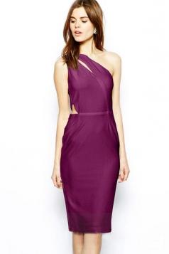 Pretty Ladies Cut Out Elastic One Shoulder Dress