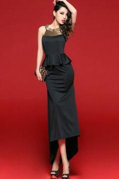 Black Stylish Womens Metallic High Low Peplum Dress