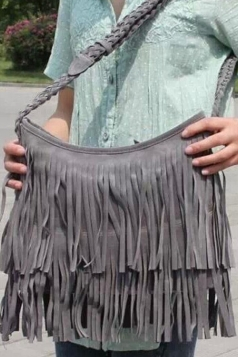 Chic Ladies Fringe Sueding Knit Shoulder Bag