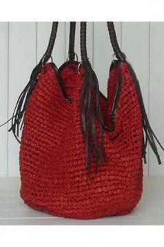 Vintage Womens Fringe Crochet Straw Shoulder Bag