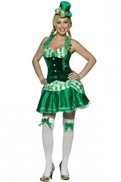 Green Womens Shamrock Sweetheart Halloween Patrick Plant Costume