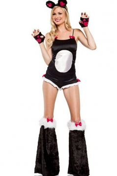 Black Sexy Panda Outfit Adult Animal Halloween Cat Costume