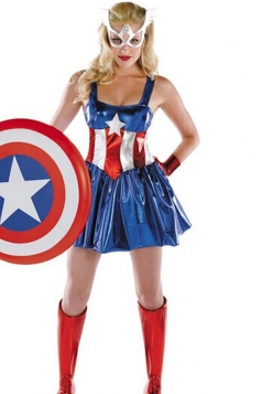 Blue Womens Captain America Pretty Dress Costume