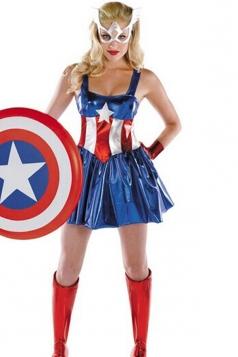 Blue Womens Captain America Pretty Dress Costume