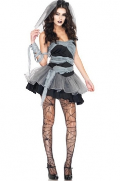 Black Sexy Ladies Zombie Bride Halloween Costume