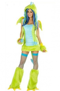 Green Women's Sexy Puff Dragon Halloween Costume