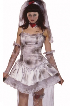 White Ladies Horror Zombie Bride Halloween Costume
