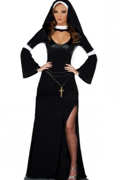 Black Sexy Ladies Split Nun Halloween Costume