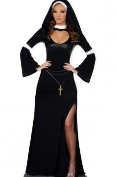 Black Sexy Ladies Split Nun Halloween Costume