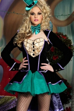Black Mad Hatter Alice In Wonderland Circus Costume
