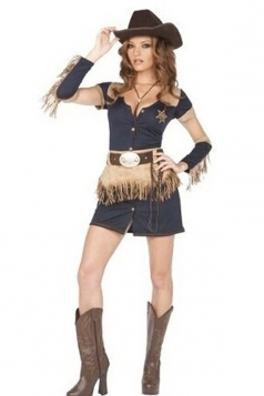 Navy Blue Sexy Cowboys Country Circus Costume