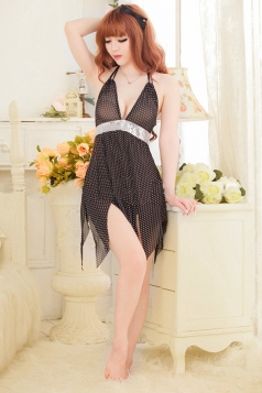 Black Alluring Ladies Halter Fishnet Irregular Hem Babydoll