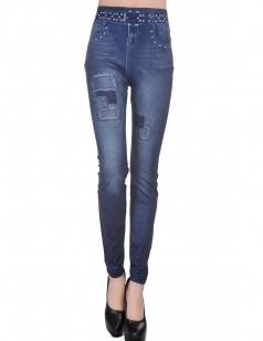 Blue Sexy Ladies Denim Look Ripped Cool Leggings