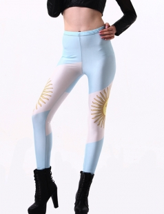 Blue Trendy Womens Argentina Flag Leggings