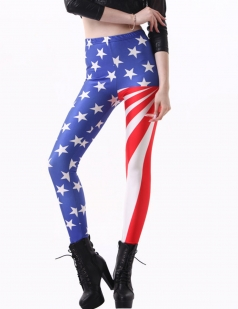 Blue Sexy Womens Union Flag Printed Unique Leggings