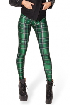 Green Casual Ladies Plaids Printed Sexy Leggings