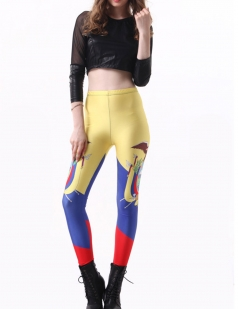 Yellow Cute Ladies Ecuador Flag Printed Sexy Leggings