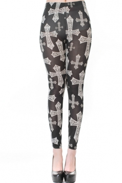 Black Vintage Ladies Cross Slimming Designer Leggings