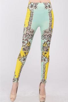 Yellow Fashion Womens Vines Floral Leggings