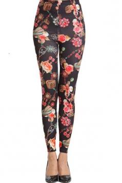 Fabulous Womens Elastic Close Fitting Floral Leggings