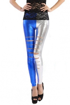 Personalized Ladies Patchwork Metallic Tight Ripped Leggings