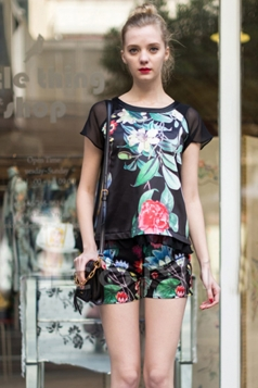 Black Fashion Ladies Peony Printed Summer Top and Short Sets