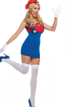Blue Trendy Girls Cartoon Mario Halloween Costume