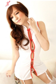 Sexy Chinese Chi-Pao Style Sleeveless Nurse Costume