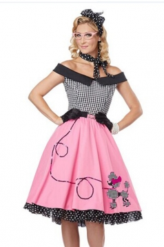 Pink Adult 1950's Costumes School Girl Poodle Skirt Costume