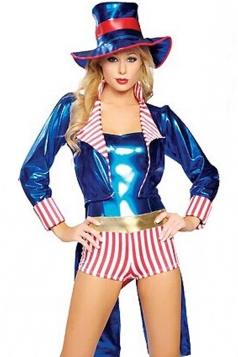 Blue Sexy Ladies Uncle Sam Adult Circus Costume