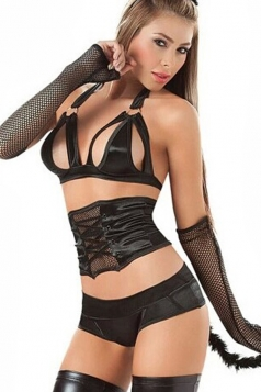 Black Sexy Womens Roleplay Attractive Cat Lingerie Costume