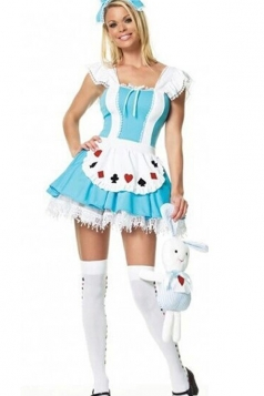 Blue Sexy Laides Alice In Wonderland Maid Costume
