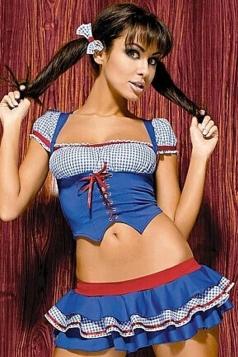 Blue Cute Cheer Leader Halloween Plaid Dance Ladies Costume