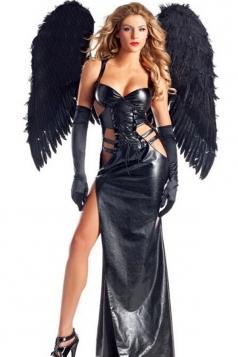 Black Sexy Ladies Be Wicked Dark Angel Halloween Costume