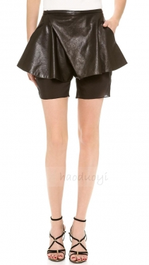 Black Unique Ladies Tiered Chiffon Skorts