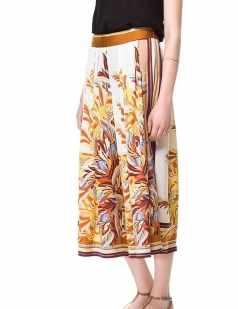 Yellow Retro Floral Print Ladies Midi Skirt