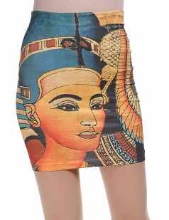 Orange Vintage Tribal Print Womens Pencil Skirt