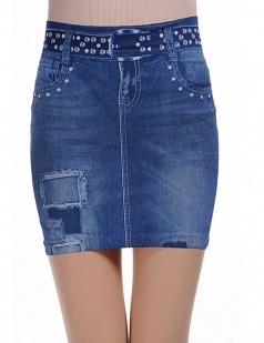Blue Fashion Ladies Slimming Pencil Denim Skirt