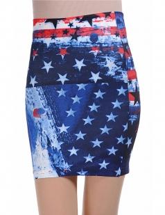 Blue Fashion Ladies Flag Print Pencil Skirt