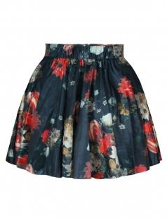Black Sexy Womens Vintage Flowers Printed Pleated Skirt