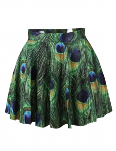 Green Cool Peacock Feathers Printed Ladies Pleated Skirt