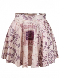 Gray Maps Printed Cool Womens Sexy Pleated Skirt