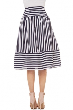 Black and White Pretty Womens Striped Chiffon Flare Skirt Midi Skirt