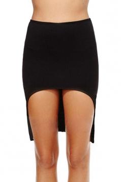 Black Cute Womens High Low Pencil Skirt