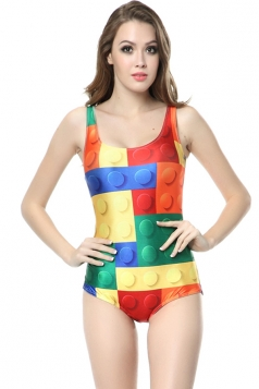 Yellow Sexy Womens Strap Lego Printed Simple Classic Monokini