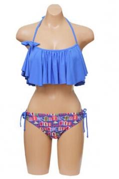 Blue Sexy Ladies Halter Bikini Top & Ruffle Bikini Bottom