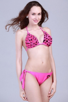 Pink Sexy Ladies Halter Swimwear Top & Floral Bikini Bottom