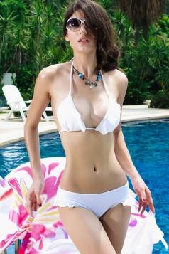 White Ruffle Sexy Swimwear Top & Skirted Swimsuit Bottom